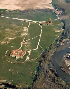 Vista aerea del parque arqueológico de Carranque